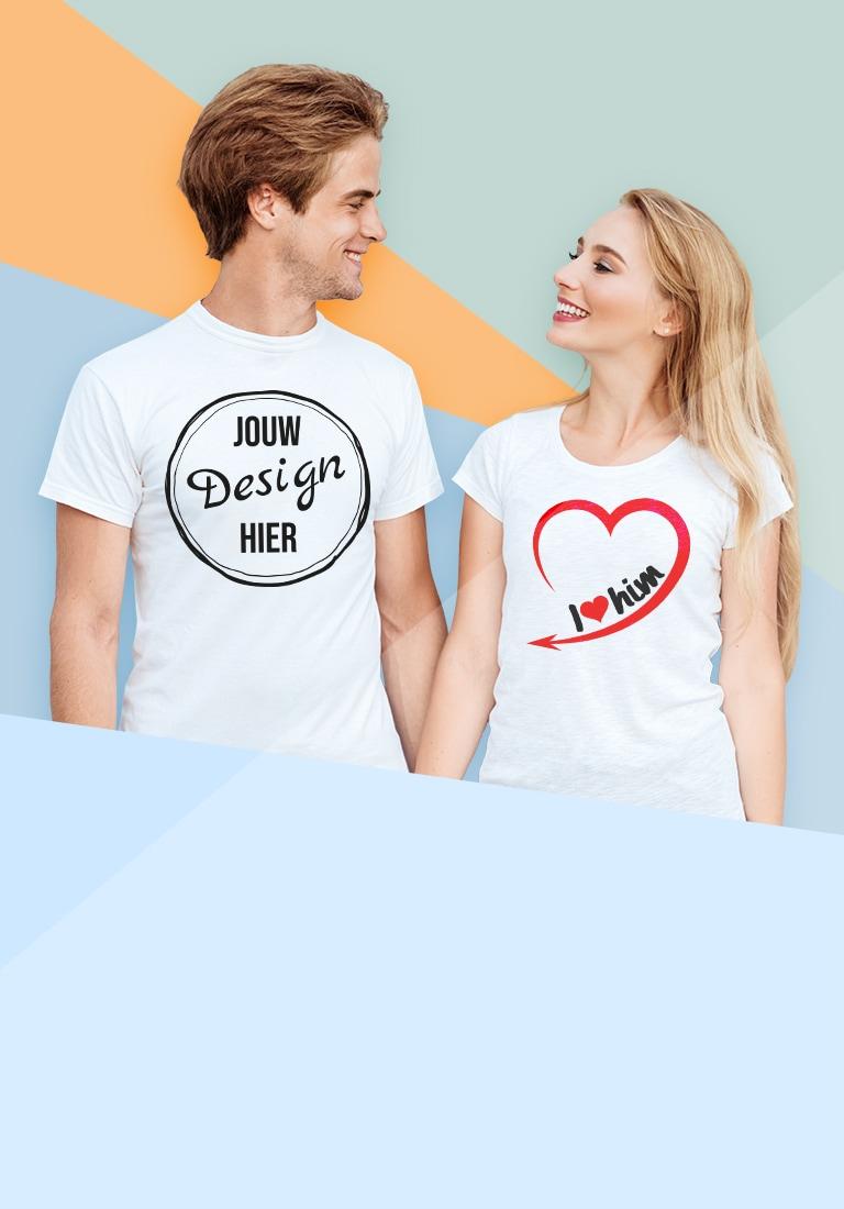 Jong koppel in T-shirt met eigen illustraties