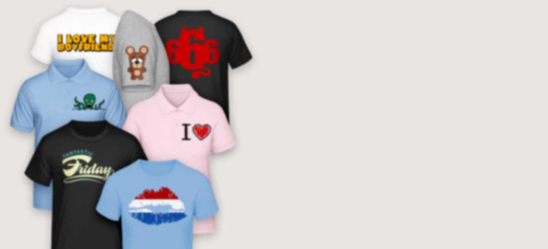 T-shirts in verschillende kleuren bedrukt met coole illustraties